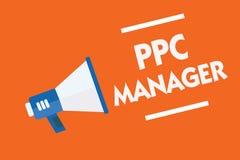 词文字文本Ppc经理 登广告者每次付费他们的广告一的企业概念大声是点击的扩音机 免版税图库摄影