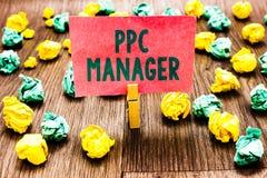 词文字文本Ppc经理 登广告者每次付费他们的广告一的企业概念是点击的晒衣夹hol 图库摄影