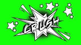 词易碎的可笑的动画飞行在泡影外面 绿色屏幕 库存例证