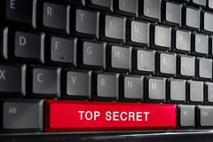 词最高机密在按钮上键盘  浅DOF 免版税库存照片