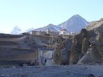 词条在Manang村庄,尼泊尔, anapurna区域 免版税图库摄影