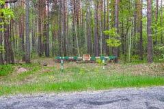 词条被禁止,障碍是闭合的并且在森林里停留,并且狩猎被禁止 库存照片