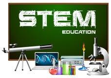 词根教育海报设计用科学设备 库存例证