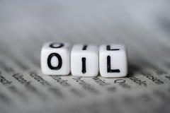 词油由在报纸的木字母表块形成了 免版税库存照片