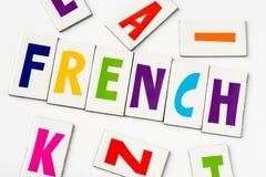 词法语由五颜六色的信件做成 免版税图库摄影