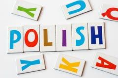 词波兰语由五颜六色的信件做成 库存照片