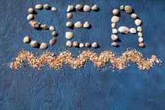词海由贝壳做成,装饰海浪,在蓝色背景顶视图关闭的金黄沙子,夏天休假概念 库存图片