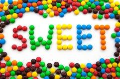 词甜点,做由色的糖果 免版税库存图片
