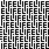 词生活的信件的黑白样式 库存例证