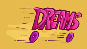 词的Dinamic例证作梦,滑倒在轮子 免版税库存图片