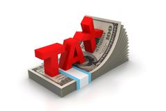 词税和金钱组装 免版税库存照片