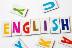 词英语由五颜六色的信件做成 免版税图库摄影