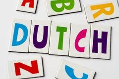 词荷兰语由五颜六色的信件做成 免版税库存图片