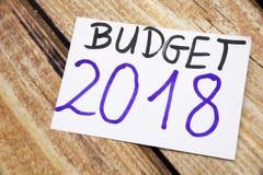 词计划在稠粘的笔记写的2018年 免版税图库摄影
