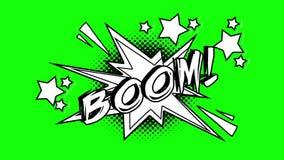 词轰隆的可笑的动画飞行在泡影外面 绿色屏幕 向量例证