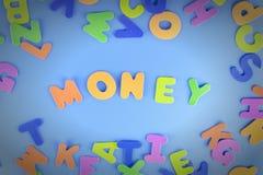词金钱在五颜六色的信件被计划 与小插图的美好的题字 库存图片