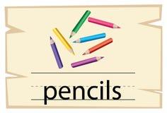 词铅笔的Wordcard设计 向量例证