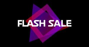 词闪动出现在紫色正方形前面的销售反对黑屏幕4k 皇族释放例证