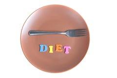 词饮食和叉子在板材 免版税库存图片