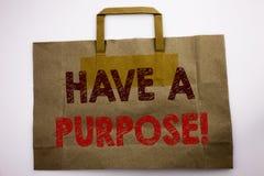 词,写有一个目的 梦想的企业概念选择在购物袋写的视觉,白色背景 免版税图库摄影