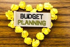 词,写预算计划 在黑暗的木背景的稠粘的便条纸写的财政预算的企业概念 库存照片