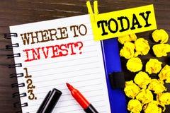 词,文字,文本在哪里投资问题 投资计划忠告财富的财务收益的企业概念写在notebo 免版税图库摄影