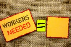 词,文字,文本工作者需要 概念性照片查寻事业资源雇员在稠粘写的失业问题 图库摄影