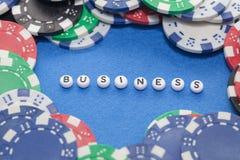 词`与纸牌筹码的企业` 库存照片