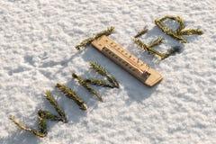 词组成由冷杉在白色雪分支 图库摄影