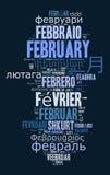 词2月用不同的语言 免版税库存图片
