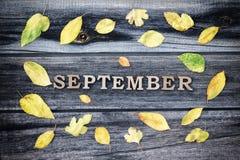 词9月,木信件 黄色叶子框架,木背景 图库摄影