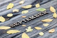 词9月,木信件 黄色叶子框架,木背景 库存照片