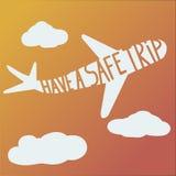 词组有在飞机上的一次安全旅行 库存图片