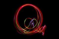 词` Q从光的`文字 免版税库存照片