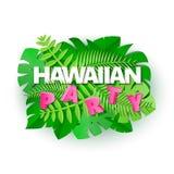 词HAWANIIAN与密林叶子的党构成在纸的白色背景削减了样式 白色热带的叶子和 向量例证