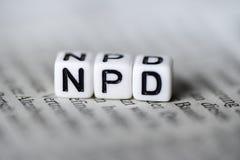 词NPD由在报纸德国党派政治的木字母表块形成了 免版税库存图片