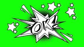 词ok的可笑的动画飞行在泡影外面 绿色屏幕 皇族释放例证