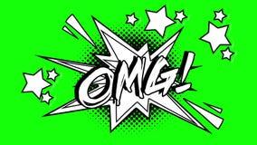词omg的可笑的动画飞行在泡影外面 绿色屏幕 皇族释放例证