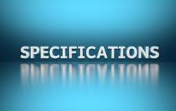词specificaitions pn蓝色背景 皇族释放例证