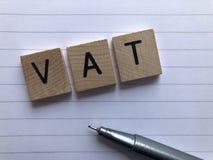 词VAT -增值税、会计和纳税申报 图库摄影