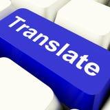 翻译在显示网上译者的蓝色的计算机键盘 免版税图库摄影