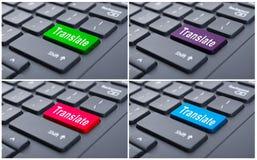 翻译在膝上型计算机的计算机键盘 库存照片