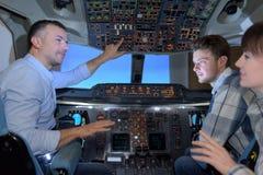 试验显示的家庭驾驶舱私人飞机 库存图片