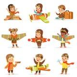 试验服装的小孩子作梦驾驶的飞机,使用与玩具可爱的漫画人物 库存例证