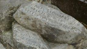 诗人Juliusz SÅ 'owacki历史的纪念碑在蒙马特,巴黎,法国伟大的公墓  库存照片