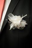 诗句与装饰玫瑰色在新郎婚礼衣服 免版税库存图片