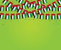 诗歌选与绿色背景模板横幅的阿拉伯联合酋长国旗子 库存照片