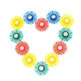从诗歌选的五颜六色的雪花玩具 免版税图库摄影