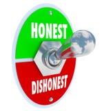 诚实对不诚实的开关打开真诚信任真相 库存照片