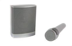 话筒和报告人音乐和讲话放音的  库存图片